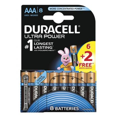 Duracell Ultra Power alkaline AAA-batterijen, verpakking van 8 batterij