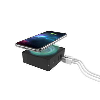 Mophie USB-C In/Out, 2x USB-A Out, 6000 mAh, Max 18W Oplader - Zwart