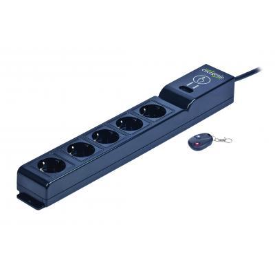 Gembird 5 x AC, 250 V, 16 A, 50 Hz, USB Surge protector - Zwart