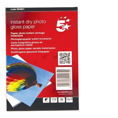 5star fotopapier: Inkjet, Gloss, Fast Drying, 175gsm, 100 x 150 mm, 50 Sheets