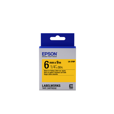 Epson Pastel Tape - LK-2YBP Pastel Blk/Yell 6/9 Labelprinter tape