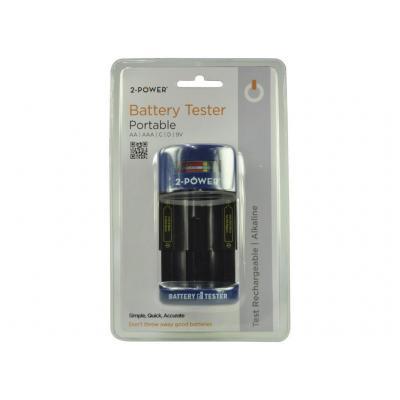 2-power tester: Battery Tester for AA/AAA/C/D/9V - Zwart, Blauw
