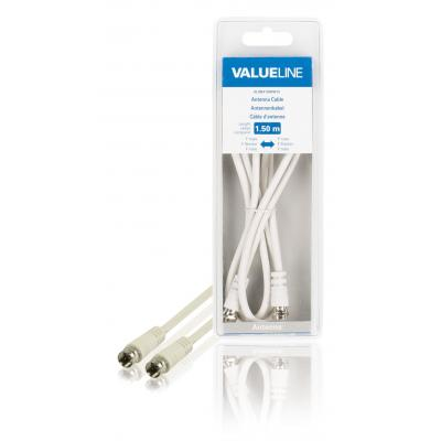 Valueline coax kabel: Antennekabel, F mannelijk - F mannelijk, 1.50 m, wit