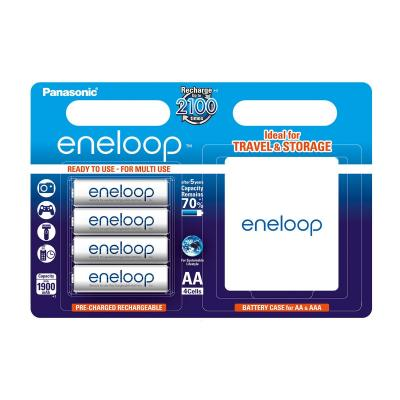 Sanyo batterij: eneloop AA 1900 mAh 4 Blisterpack+ batterycase - Wit
