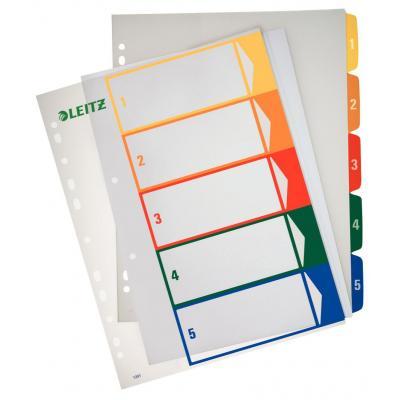 Leitz indextab: PC printbare Index, PP, extra breed - Blauw, Groen, Oranje, Rood, Geel
