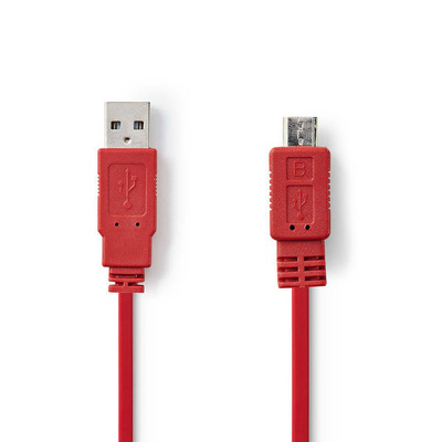 Nedis USB 2.0 Cable, A Male - Micro B Male, 1.0 m, Red USB kabel - Rood