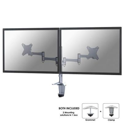 """Newstar monitorarm: Full Motion Dual Desk Mount (clamp & grommet) for two 10-27"""" Monitor Screens, Height Adjustable - ....."""