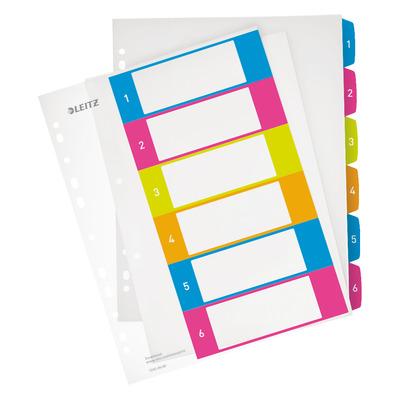 Leitz In aantrekkelijke, stijlvolle kleuren. 1-6 genummerde premium tabbladen: Extra sterk. Doorzichtig PP, A4 .....