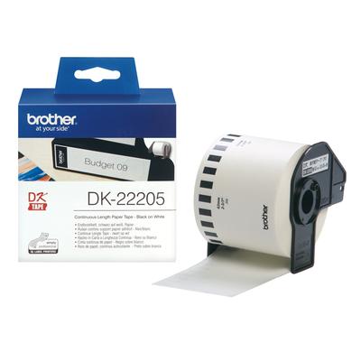 Brother DK-22205 Continue Lengte Tape: 62 mm - Thermisch papier - wit (30.48m) Labelprinter tape