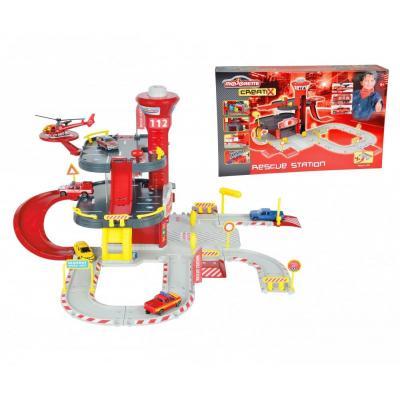 Majorette building set: Creatix Rescue Station 1 Heli+Car - Grijs, Rood