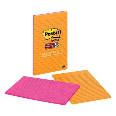Post-it zelfklevend notitiepapier: Super Sticky Notes, 5 in x 8 in, Rio de Janeiro Collection, Lined, 2 Pads/Pack - .....