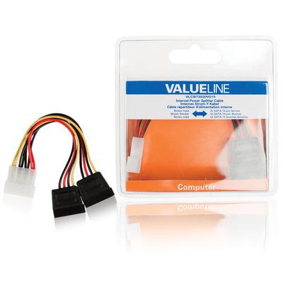 Valueline Interne stroom splitterkabel Molex mannelijk - 2x SATA 15-pin vrouwelijk 0,15 m veelkleurig - Zwart, .....
