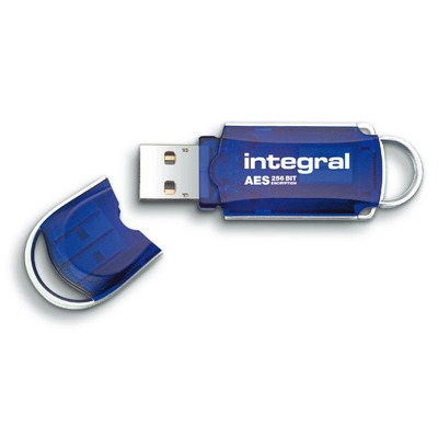 Integral USB 2.0 Courier AES Security Edition 4 GB USB flash drive - Blauw