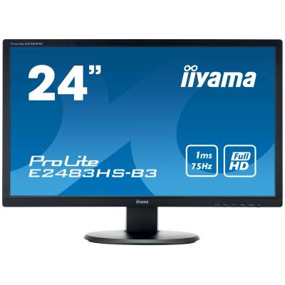 "Iiyama monitor: ProLite 60.96 cm (24 "") , 61 cm, TN LED, matte finish, Full HD 1080p, 1920 x 1080 @75Hz, 250 cd/m², 1 ....."