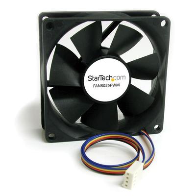 StarTech.com 80x25mm Ventilator Computerbehuizing met PWM Pulse Width Modulation Hardware koeling - Zwart