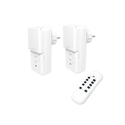 Logilink wandcontactdoos: Wireless Outdoor Outlets Set, 3-Parts, IP44 - Wit