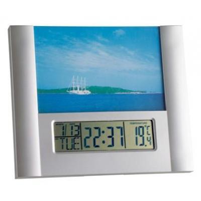 Tfa wekker: Digital alarm clock with photo frame - Zilver
