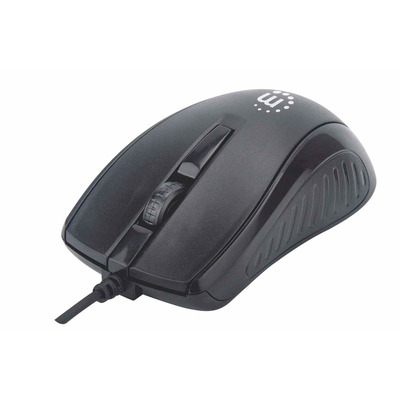 Manhattan Mouse USB Wired (Promo), Black, 1000dpi, USB-A, Optical, Compact, Three Button with Scroll Wheel, .....