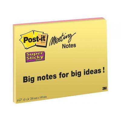 Post-it zelfklevend notitiepapier: Notitieblok Super Sticky 200x149 gl/pk 4