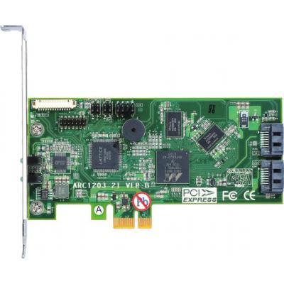 Areca raid controller: PCIe 2.0 x1, 1066 MHz, 512 MB DDR3-1066 SDRAM, 2x SATA lll, BIOS PnP, BBS, RAID 0/1/JBOD, SMTP, .....