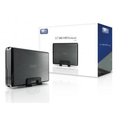 "Sweex behuizing: 8.89 cm (3.5 "") SATA II HDD Enclosure, USB - Zwart, Grijs"