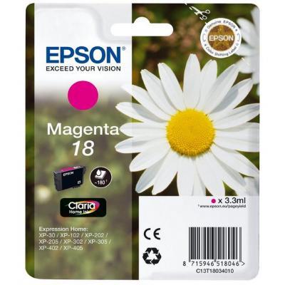 Epson inktcartridge: 18 inktcartridge magenta standard capacity 3.3ml 180 paginas 1-pack blister zonder alarm
