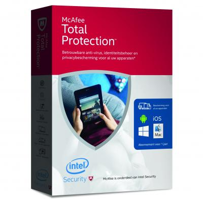 McAfee software: Total Protection 2016, ongelimiteerd aantal devices (NL)