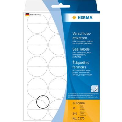 Herma etiket: Sluitetiketten geperforeerd Ø 32 mm rond transparant extreem vast hechtend folie mat 240 st.