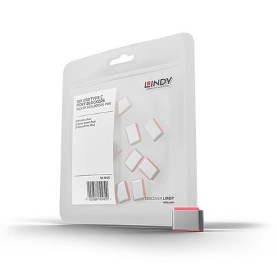 Lindy USB Type C Port Blockers, pink, 10pcs - Roze