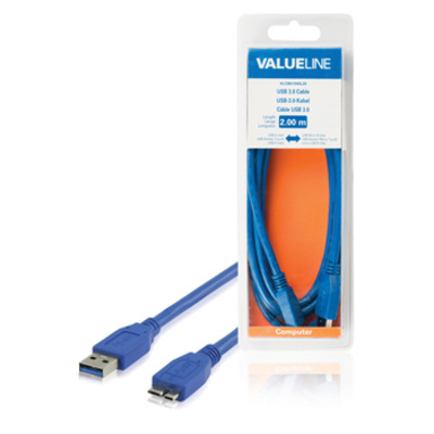 Valueline Micro USB/USB, 2m USB kabel - Blauw
