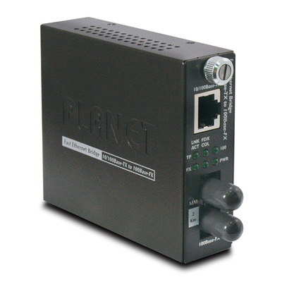 PLANET 10/100Base-TX to 100Base-FX (ST, MM) Smart-2km Media converter - Zwart
