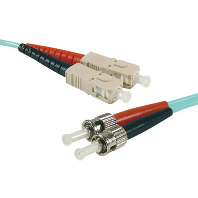 Connect SC-UPC/ST-UPC duplex multimode OM4 50/125 Fiber patch cable aqua blue, 1 m Fiber optic kabel - Aqua-kleur