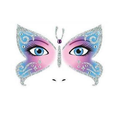 Herma sticker: Face Art Sticker Butterfly - Blauw, Paars