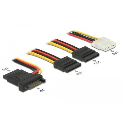 DeLOCK SATA 15 pin plug > 3 x SATA receptacle + 1 x Molex 4 pin female 20 cm (PCB) - Zwart,Rood,Wit,Geel