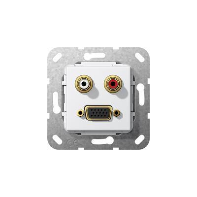 GIRA Basiselement cinch audio en VGA 15-polig Koppeling Wandcontactdoos - Wit