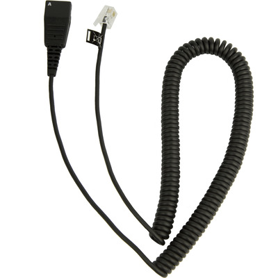 Jabra QD to Modular RJ extension coiled cord for Cisco IP Koptelefoon accessoire - Zwart