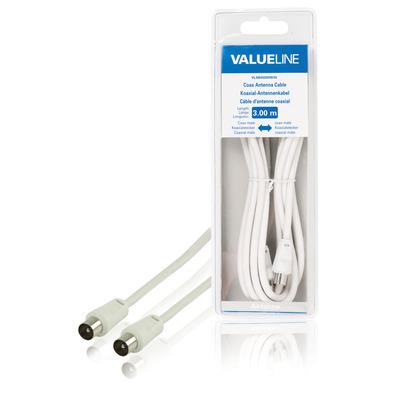 Valueline Coax antennekabel, coax mannelijk - coax mannelijk, 3.00 m, wit Coax kabel