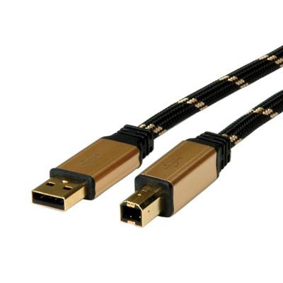 ROLINE GOLD USB 2.0 kabel, type A-B 3,0m USB kabel - Zwart,Goud