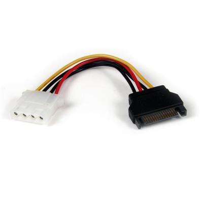 Startech.com electriciteitssnoer: 15cm SATA naar LP4 Verloopkabel Voeding F/M - Veelkleurig