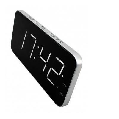 Soundmaster wekker: Jumbo–LED–Alarm–Clock @ Dimmer for Brightness, Silver/Black - Zwart, Zilver