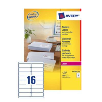 Avery adreslabel: A4, Laser, 4000 etiketten, 99.1 x 33.9 mm - Wit