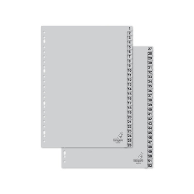 Kangaro Tabblad A4 cijfers PP 120mµ grijs 23r 52dlg Indextab