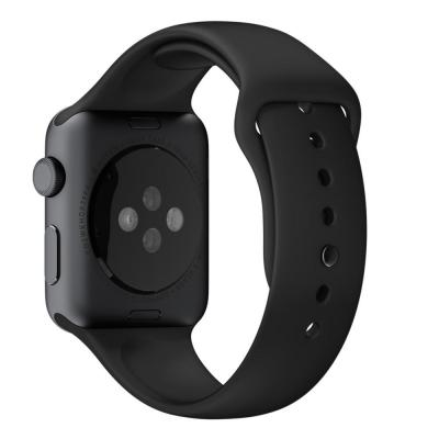 Apple horloge-band: 42mm Black Sport Band with Space Gray Stainless Steel Pin - Zwart