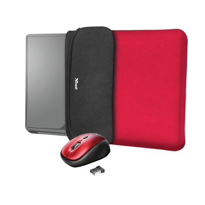 """Trust Yvo Reversible Sleeve for 15.6"""" Laptops with wireless mouse - red Laptoptas"""