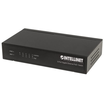 Intellinet 5-Port Gigabit Ethernet PoE+, 4 x PSE Ports, IEEE 802.3at/af Power over Ethernet (PoE+/PoE) .....