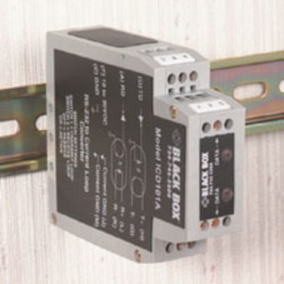 Black Box RS-232 to Current Loop DIN Rail Converter with Opto-Isolation Seriele converter/repeator/isolator - .....
