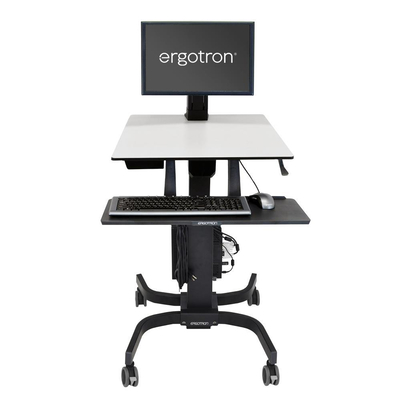 Ergotron WorkFit-C, Single LD Sit-Stand Workstation Multimedia kar & stand - Zwart, Grijs