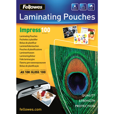 Fellowes 100 micron lamineerhoes glanzend A5 - 100 pak Laminatorhoes - Transparant
