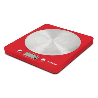 Salter weegschaal: ColourWeigh Electronic Kitchen Scale, LCD display - Rood, Roestvrijstaal