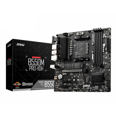 MSI AMD B550, AM4, 4x DDR4, PCIe x 16, PCIe x1, VGA, DP, HDMI, SATA III, M.2, USB 3.2, 1G LAN, USB 3.2, Micro-ATX, .....